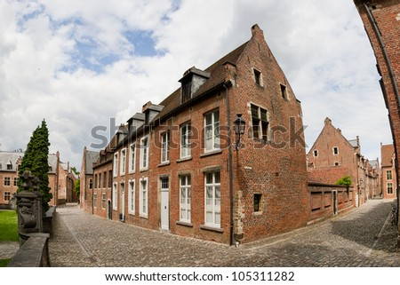 Traditional architecture house in Grand Beguinage of Leuven - stock photo