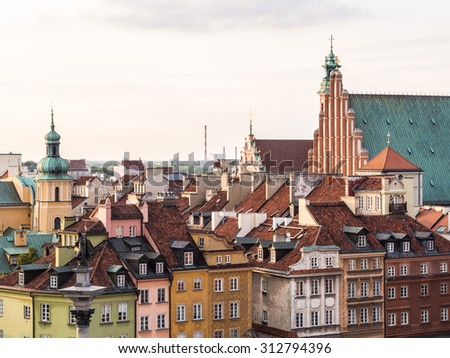 Traditional architecture in the Old Town of Warsaw, Poland, seen from the viewing terrace on the saint Anna's church. - stock photo