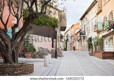 Traditional architecture in the streets of Saint Tropez mediterranean town, Provence, France - stock photo