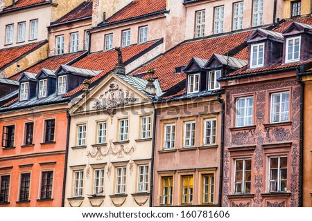 Traditional architecture in Warsaw, Poland  - stock photo