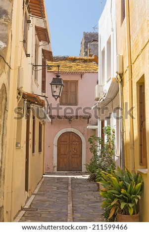 traditional architecture of the town of Rethymno, Crete, Greece. - stock photo