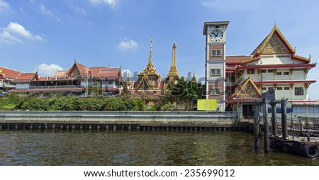 Traditional architecture on Chao Phraya riverside in Bangkok, Thailand
