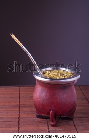 Traditional Argentinian mate, copy space. - stock photo