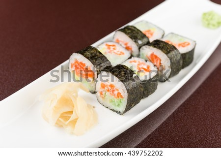 traditional asia food. sushi rolls on white plate