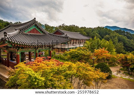 Buddhist Temple Korea Stock Images RoyaltyFree Images Vectors - Temple landscape architecture