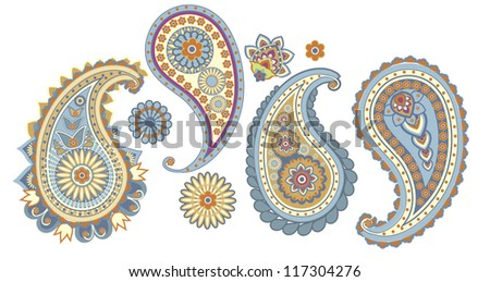 traditional Asian elements Paisley on a white background - stock photo