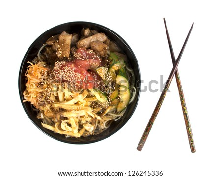 Traditional Asian food, Korean noodles with meat and vegetables. - stock photo
