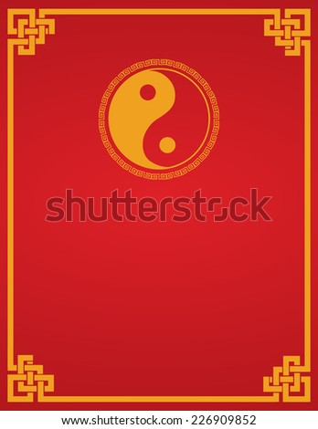 Traditional Asian red and gold yin yang symbol design book cover or flier with space for text  - stock photo