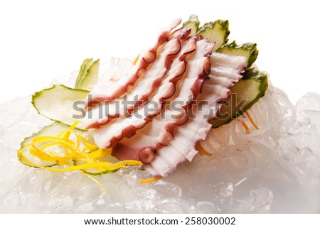traditional Asian sushi rolls sashimi close-up shot in the studio on a white background - stock photo