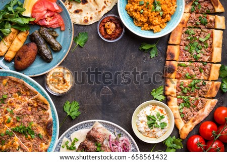 Traditional assorted turkish dishes background turkish imagen de traditional assorted turkish dishes background turkish pizza meat kebab pita bulgur forumfinder Choice Image