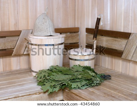 Traditional attributes of Russian bath. - stock photo