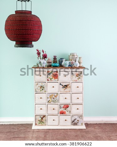 traditional background interior decor and red paper lantern cabinet drawer - stock photo