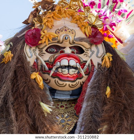 Traditional Balinese Barong mask during celebrate Balinese New Year and the arrival of spring on the island Bali, Indonesia - stock photo