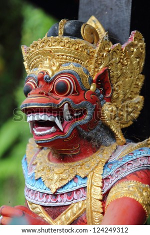Traditional Balinese God statue in a Bali temple - stock photo