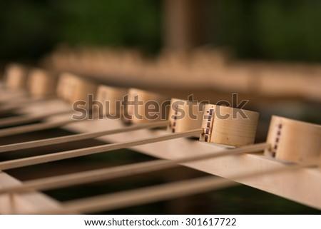 Traditional bamboo water scoop, Hishaku, Japan. - stock photo