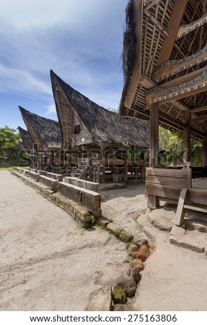 Traditional Batak Houses on Samosir Island, North Sumatra, Indonesia - stock photo