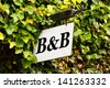 Traditional Bed and breakfast sign surrounded by an ivy creeper - stock photo