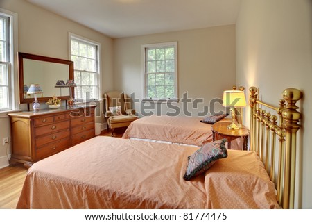 traditional bedroom interior with two beds