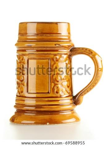 Traditional beer mug isolated on white background - stock photo