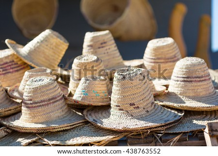 Traditional berber hats in northwest Morocco - stock photo