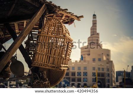 Traditional bird cage in Souq Wakif, Doha Qatar - stock photo