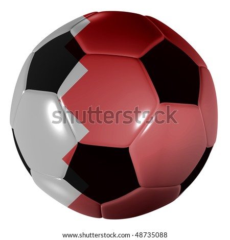 Traditional black and white soccer ball or football bahrain flag