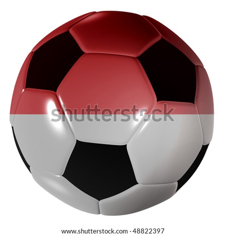 Traditional black and white soccer ball or football monaco flag