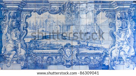 Traditional blue handpainted tiles picture in Famous church and cloister Sao Vicente de Fora Lisbon, Portugal. - stock photo