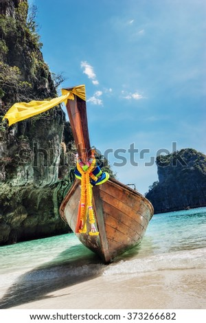 Traditional boat of Phi-phi Leh island, Thailand - stock photo