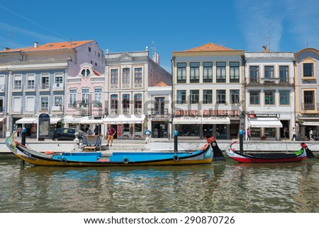 Traditional boats in Aveiro, Portugal - May 16, 2015