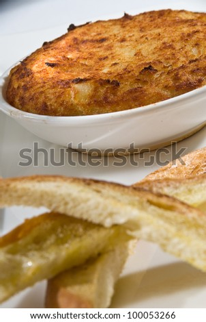 traditional brandade served with toast - stock photo
