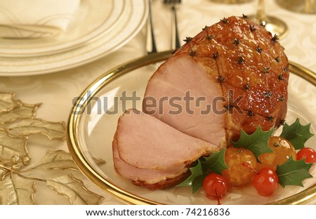 Traditional Brazilian Christmas dish: Smoked Glazed Ham with Cloves - stock photo