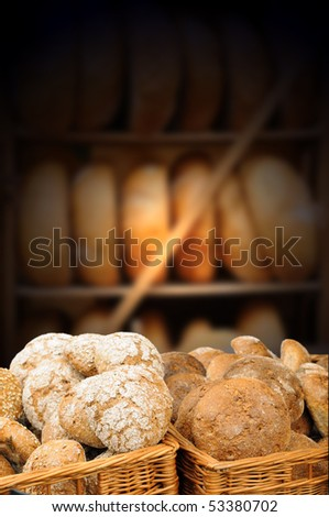 Traditional bread in baskets