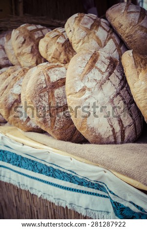 Traditional bread in polish food market in Krakow, Poland. - stock photo
