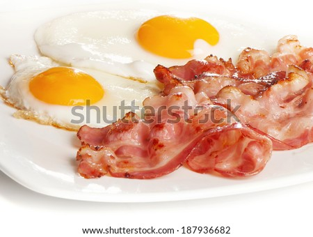 Traditional breakfast with bacon and fried eggs. Selective focus - stock photo