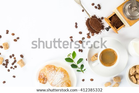 traditional breakfast with fresh croissants and coffee on white background top view horizontal - stock photo