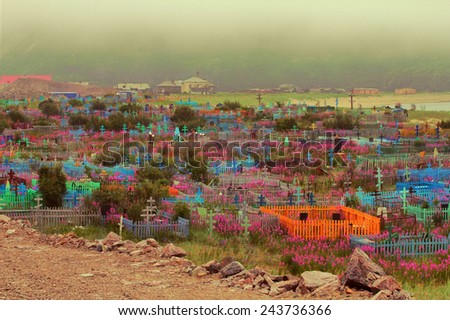 traditional bright cemetery beyond polar circle - stock photo