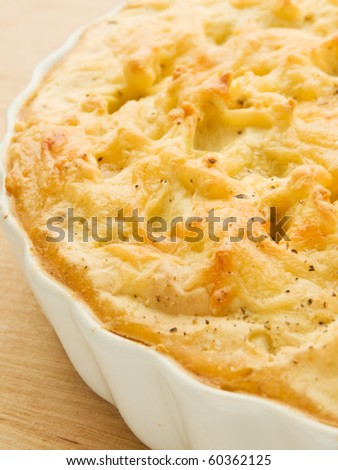 Traditional british homemade Shepherd's pie. Shallow dof. - stock photo