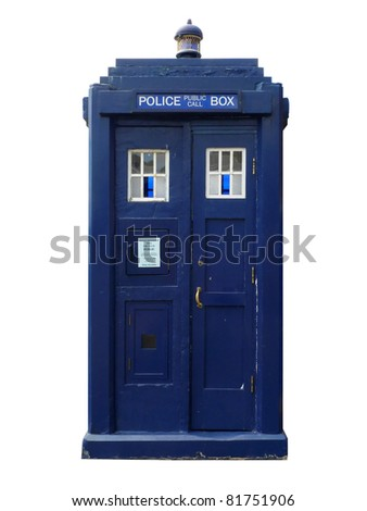 Traditional British police box; straight-on view of old-fashioned police box, isolated against white ground - stock photo