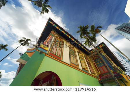 Traditional Building in Little India district, Singapore - stock photo