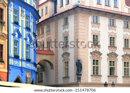 Traditional buildings with beautiful facades on the streets of Prague Old Town, Czech Republic - stock photo