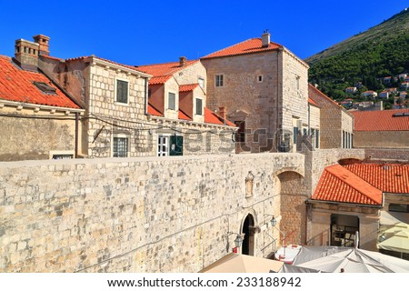 Traditional buildings with orange roofs from the old town of Dubrovnik, Croatia - stock photo