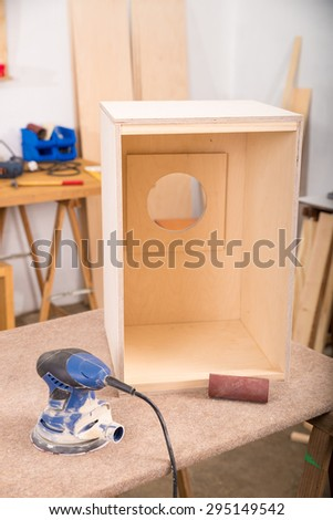 Traditional cajon flamenco percussion instrument in an artisan workshop - stock photo