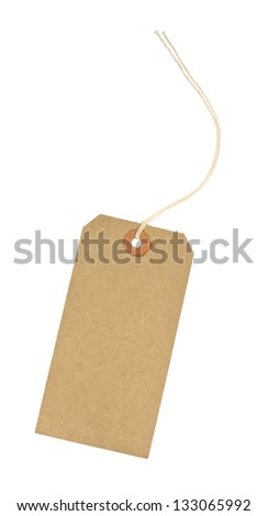 traditional cardboard price tag with white string threaded through the reinforced hole isolated against a white background - stock photo
