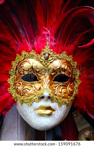 Traditional carnival mask close-up, Venice - stock photo