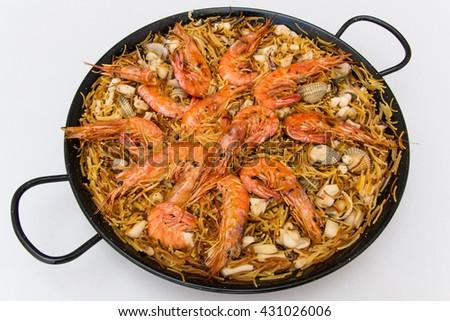 Traditional catalonian and spanish food - fedeua - stock photo