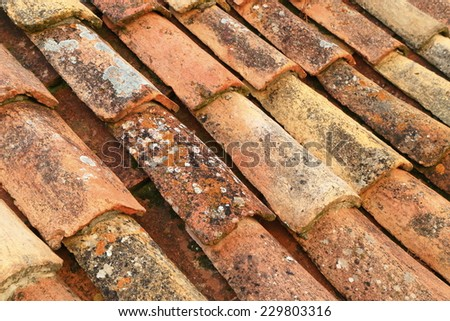 Traditional ceramic roof tiles on Mediterranean building in Dubrovnik, Croatia - stock photo