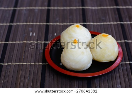 Traditional Chinese cake ,Chinese Pastry or Moon cake, Chinese festival dessert - stock photo