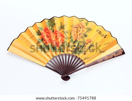 Traditional Chinese fan Isolated on white background