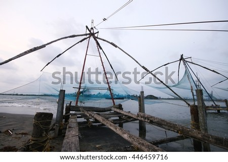 Traditional Chinese fishing net in Kochi, India
